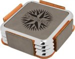 Leatherette Square Coaster Set with Silver Edge -Gray  Leatherette Items
